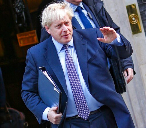 (AP Photo/Vudi Xhymshiti). British Prime Minister Boris Johnson leaves 10 Downing Street, to go to the Houses of Parliament in London, Saturday, Oct. 19, 2019. Britain's Parliament is set to vote in a rare Saturday sitting on Prime Minister Boris Johns...