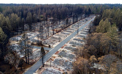 (AP Photo/Noah Berger, File). FILE - In this Dec. 3, 2018, file photo, homes leveled by the Camp Fire line the Ridgewood Mobile Home Park retirement community in Paradise, Calif. Attorneys say as many as 100,000 Californians are eligible to receive pay...
