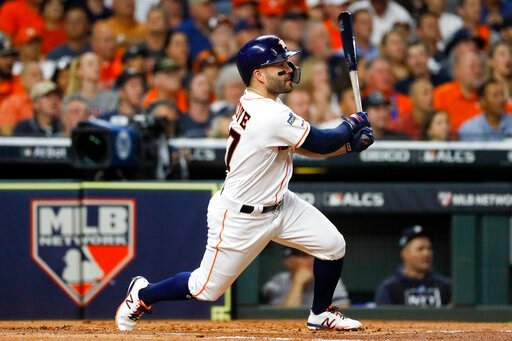 (AP Photo/Matt Slocum). Houston Astros' Jose Altuve hits a double against the New York Yankees during the first inning in Game 6 of baseball's American League Championship Series Saturday, Oct. 19, 2019, in Houston.