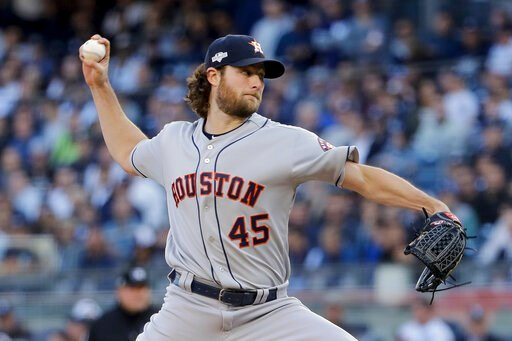 (AP Photo/Frank Franklin II). Houston Astros starting pitcher Gerrit Cole (45) delivers against the New York Yankees during the first inning of Game 3 of baseball's American League Championship Series, Tuesday, Oct. 15, 2019, in New York.