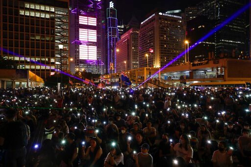 (AP Photo/Mark Schiefelbein). Protesters fresh their smartphone's lights to give support the prayer rally at Edinburgh Place in Hong Kong, Saturday, Oct. 19, 2019. Hong Kong pro-democracy protesters are set for another weekend of civil disobedience as ...