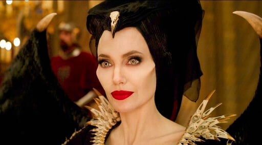 "(Disney via AP). This image released by Disney shows Angelina Jolie as Maleficent in a scene from ""Maleficent: Mistress of Evil."""