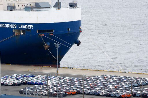 (AP Photo/Koji Sasahara). In this July 8, 2019, photo, cars for export are parked at Kawasaki port, near of Tokyo. Japan has logged a third straight month of a trade deficit in September, according to the latest government data, as trade tensions betwe...