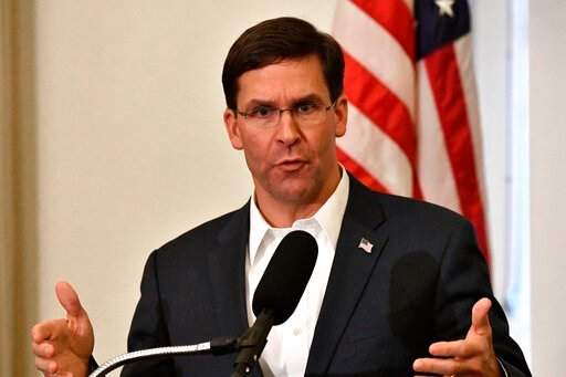 (AP Photo/Timothy D. Easley, File). FILE - In this Friday, Oct. 4, 2019 file photo, Defense Secretary Mark Esper speaks to a gathering of soldiers at the University Club at the University of Louisville in Louisville, Ky. Esper says during a weekend tri...