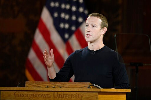 (AP Photo/Nick Wass, File). FILE - In this Oct. 17, 2019, file photo Facebook CEO Mark Zuckerberg speaks at Georgetown University in Washington. With just over a year left until the 2020 U.S. presidential election, Facebook is stepping up its efforts t...