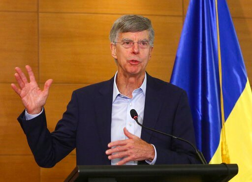 (AP Photo/Inna Sokolovska). In this file photo taken on July 27, 2019, US Ambassador in Ukraine William Taylor speaks during a briefing in Kyiv, Ukraine. William Taylor, the top American diplomat in Ukraine, is set to appear Tuesday before impeachment ...