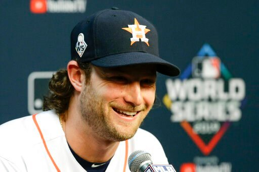 (AP Photo/Eric Gay). Houston Astros starting pitcher Gerrit Cole speaks during a news conference for baseball's World Series Monday, Oct. 21, 2019, in Houston. The Houston Astros face the Washington Nationals in Game 1 on Tuesday.