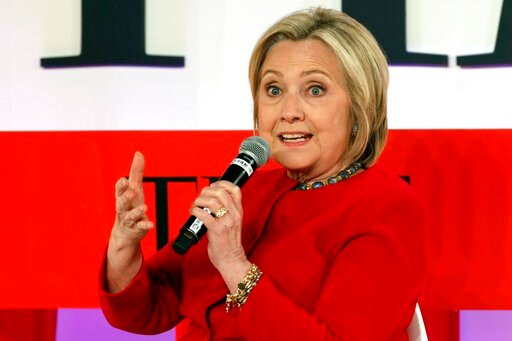 (AP Photo/Richard Drew, File). FILE - In this April 23, 2019, file photo, Hillary Clinton speaks during the TIME 100 Summit, in New York. Clinton is popping up in presidential politics again, and some Democrats are wary even as they praise her role as ...