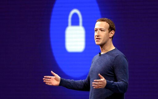 (AP Photo/Marcio Jose Sanchez, File). FILE - In this May 1, 2018, file photo, Facebook CEO Mark Zuckerberg delivers the keynote speech at F8, Facebook's developer conference, in San Jose, Calif. Zuckerberg is again appearing before Congress to face que...