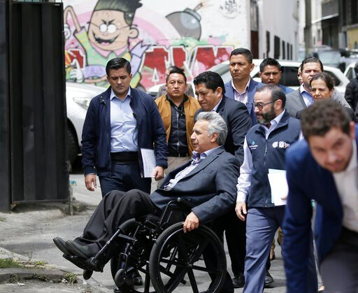 (AP Photo/Dolores Ochoa). Ecuador's President Lenin Moreno arrives to meet with merchants affected by the protests around the National Assembly in Quito, Ecuador, Thursday, Oct. 17, 2019. Weeks of violent demonstrations were triggered when President Mo...