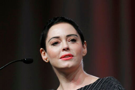 (AP Photo/Paul Sancya, File). FILE- In this Oct. 27, 2017, file photo, actress Rose McGowan speaks at the inaugural Women's Convention in Detroit. McGowan has filed a federal lawsuit alleging that Harvey Weinstein and two of his former attorneys engage...