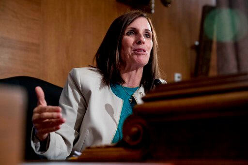 (AP Photo/Andrew Harnik, File). FILE - In this Sept. 10, 2019, file photo, Sen. Martha McSally, R-Ariz., speaks at a Senate Banking Committee hearing on Capitol Hill in Washington. President Donald Trump is raising record amounts of cash for his 2020 r...