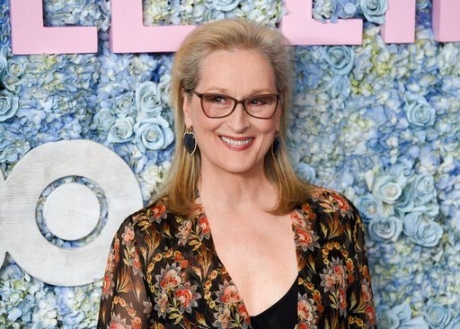 """(Photo by Evan Agostini/Invision/AP, File). FILE - This May 29, 2019 file photo shows actress Meryl Streep at the premiere of HBO's """"Big Little Lies"""" season two in New York.  Streep has been named as a co-chair of the Metropolitan Museum of Art's Costu..."""