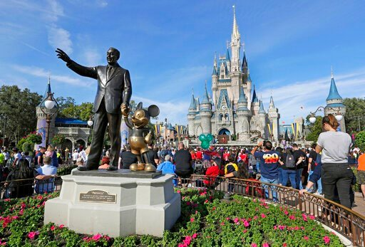 (AP Photo/John Raoux, File). FILE - In this Jan. 9, 2019 file photo, guests watch a show near a statue of Walt Disney and Mickey Mouse in front of the Cinderella Castle at the Magic Kingdom at Walt Disney World in Lake Buena Vista, Fla. The Walt Disney...