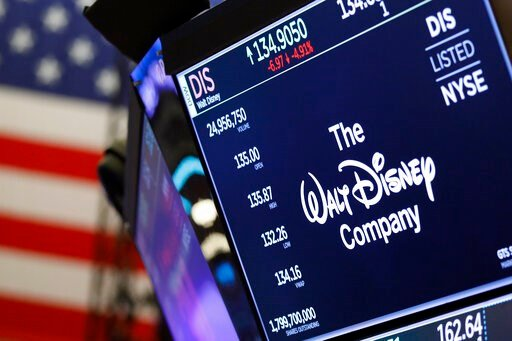 (AP Photo/Richard Drew, File). FILE - In this Aug. 7, 2019, file photo the logo for The Walt Disney Company appears above a trading post on the floor of the New York Stock Exchange. The Walt Disney Co. reports financial results Thursday, Nov. 7.