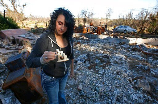 (AP Photo/Rich Pedroncelli). In this Friday, Oct. 18, 2019, photo, Amber Blood looks at a figurine she found in the ashes of her home lost in last year's Camp Fire in Paradise, Calif. Blood is one of the estimated 20,000 former Paradise residents now l...