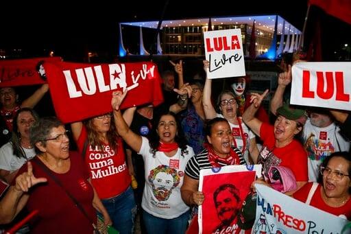 (AP Photo/Eraldo Peres). Supporters of jailed former President Luiz Inacio Lula da Silva, celebrate a Supreme Court decision that may free Da Silva, outside Brazil's Supreme Court, in Brasilia, Brazil, Thursday, Nov. 7, 2019. Brazil's top court has rea...