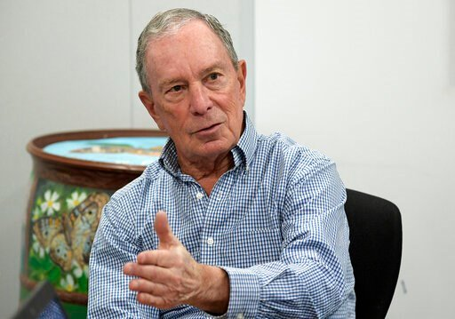 (AP Photo/Phelan M. Ebenhack, File). FILE - In this Feb. 8, 2019 file photo, former New York City Mayor Michael Bloomberg answers a question during an interview with The Associated Press in Orlando, Fla. Bloomberg, the billionaire former mayor of New Y...