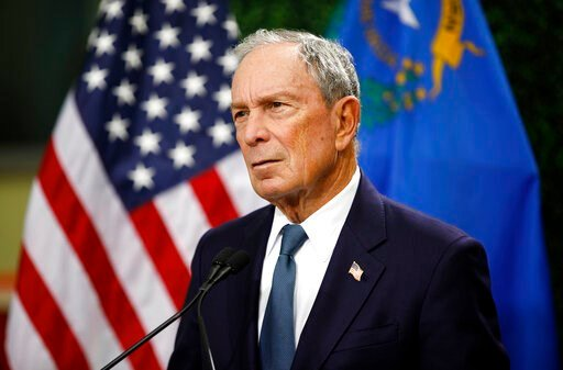 (AP Photo/John Locher, File). FILE - In this Feb. 26, 2019, file photo, former New York City Mayor Michael Bloomberg speaks at a news conference at a gun control advocacy event in Las Vegas. Bloomberg has opened door to a potential presidential run, sa...