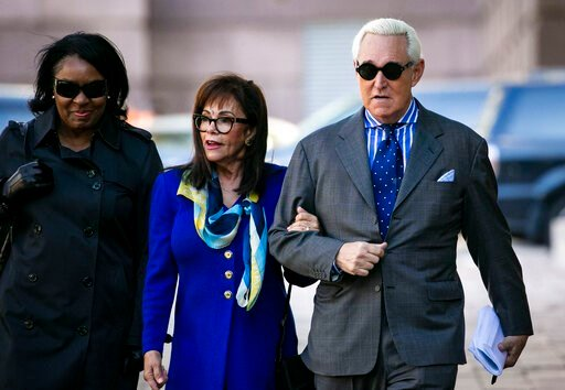 (AP Photo/Al Drago). Roger Stone, and his wife Nydia, arrive at Federal Court for his federal trial in Washington, Friday, Nov. 8, 2019.