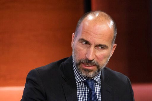 (AP Photo/Mark Lennihan, File). FILE - In this Sept. 25, 2019, file photo Dara Khosrowshahi, CEO of Uber, speaks at the Bloomberg Global Business Forum in New York. Khosrowshahi called the murder of Washington Post columnist Jamal Khashoggi a mistake i...