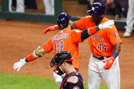 (AP Photo/Sue Ogrocki). Houston Astros' Yuli Gurriel (10) celebrates with Yordan Alvarez past Washington Nationals catcher Yan Gomes after his home run during the second inning of Game 7 of the baseball World Series Wednesday, Oct. 30, 2019, in Houston.