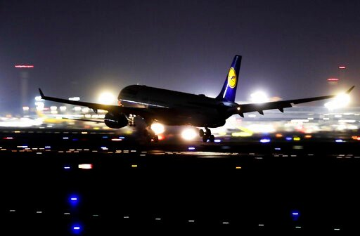 (AP Photo/Michael Probst). A Lufthansa aircraft lands at the airport in Frankfurt, Germany, Thursday, Nov. 7, 2019. The flight attendants' union Ufo is on strike at Lufthansa for 48 hours.