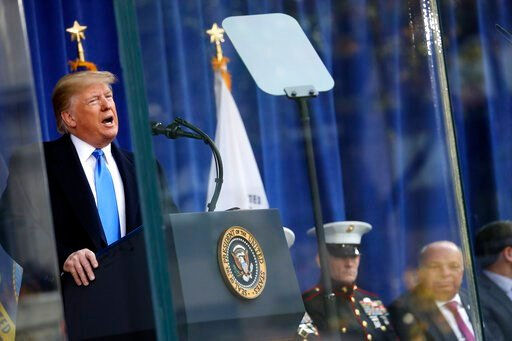(AP Photo/Andrew Harnik). President Donald Trump speaks before the New York City Veterans Day Parade at Madison Square Park in New York, Monday, Nov. 11, 2019.