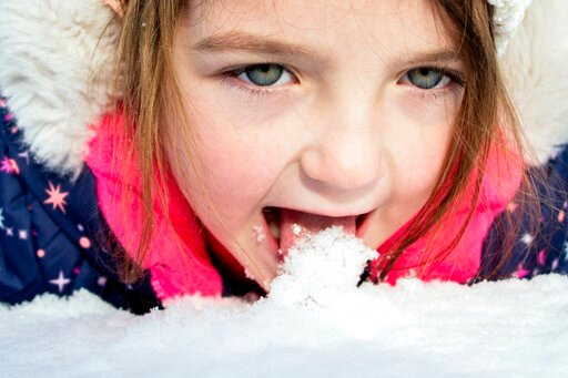 (Jake May/The Flint Journal via AP). Emma Hart, 5 of Clio, stops to lick up fresh snow as she rolls around while sledding with her father Ryan Hart on the hill behind Southwestern Classical Academy on Tuesday, Nov. 12, 2019 in Flint, Mich.