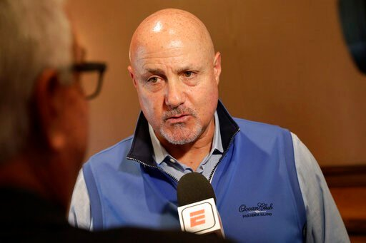 (AP Photo/Matt York). Washington Nationals general manager Mike Rizzo speaks during a media availability during the Major League Baseball general managers annual meetings Tuesday, Nov. 12, 2019, in Scottsdale, Ariz.