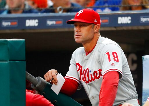 (AP Photo/Paul Sancya, File). FILE - In this July 23, 2019, file photo, Philadelphia Phillies manager Gabe Kapler watches the team play the Detroit Tigers in the first inning of a baseball game in Detroit. Kapler is new manager of the San Francisco Gia...