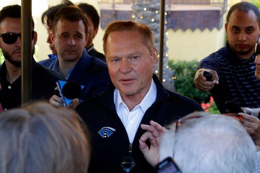 (AP Photo/Matt York). Sports agent Scott Boras speaks to the media after a session of the Major League Baseball general managers annual meetings, Wednesday, Nov. 13, 2019, in Scottsdale, Ariz.