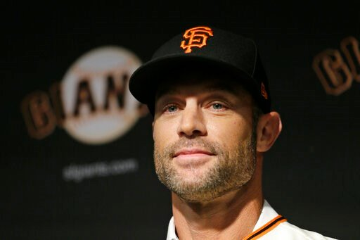 (AP Photo/Eric Risberg). San Francisco Giants manager Gabe Kapler smiles after being introduced during a news conference at Oracle Park Wednesday, Nov. 13, 2019, in San Francisco. Gabe Kapler has been hired as manager of the San Francisco Giants, a mon...