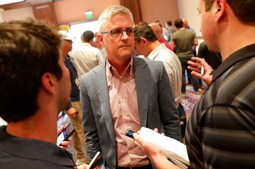 (AP Photo/Matt York). Houston Astros general manager Jeff Luhnow speaks during a media availability during the Major League Baseball general managers annual meetings Tuesday, Nov. 12, 2019, in Scottsdale, Ariz.