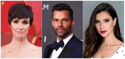 (AP Photo). This combination photo shows, from left, actress Paz Vega, actor-singer Ricky Martin and actress Roselyn Sanchez, who will host the 20th Latin Grammy Awards on Thursday in Las Vegas, Nev.