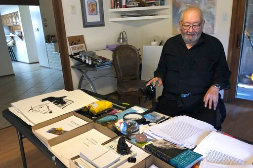 """(AP Photo/Russell Contreras). In this Wednesday, Nov. 13, 2019, photo, Kiowa writer N. Scott Momaday, who won a Pulitzer Prize in 1969 for his groundbreaking novel """"House Made of Dawn,"""" sits in his Santa Fe, N.M., home between writing sessions. In a ra..."""