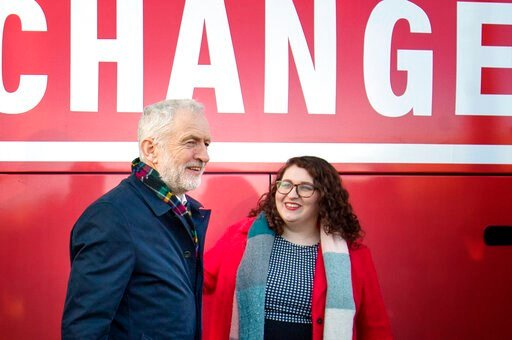 (Jane Barlow/PA via AP). Britain's Labour Party leader Jeremy Corbyn and Shadow Minister for Climate Justice Danielle Rowley visit the National Mining Museum at the former Lady Victoria Colliery in  Newtongrange, Scotland, Thursday Nov, 14, 2019, on th...