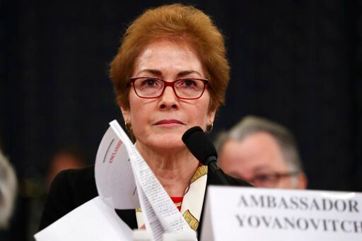 (AP Photo/Andrew Harnik). Former U.S. Ambassador to Ukraine Marie Yovanovitch testifies before the House Intelligence Committee on Capitol Hill in Washington, Friday, Nov. 15, 2019, during the second public impeachment hearing of President Donald Trump...