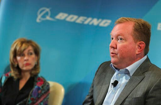 (AP Photo/Kamran Jebreili). Stan Deal, president and CEO of Boeing Commercial Airplanes, right, talks as Leanne Caret president and CEO of Boeing Defense, Space & Security looks on at the Boeing press conference a day ahead before Dubai Airshow in ...