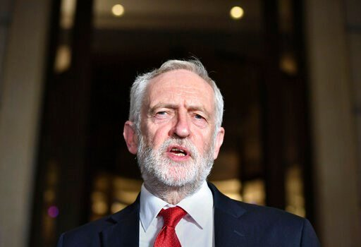 (Dominc Lipinski/PA via AP). Britain's main opposition Labour Party leader Jeremy Corbyn speaks to the media, in London, Saturday Nov. 16, 2019, following a Labour Party meeting to finalise the party manifesto for their policy ahead of the upcoming Gen...