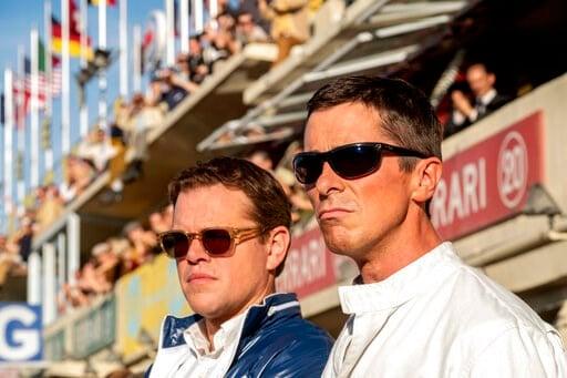 "(Merrick Morton/20th Century Fox via AP). This image released by 20th Century Fox shows Christian Bale, right, and Matt Damon in a scene from the film, ""Ford v. Ferrari."""