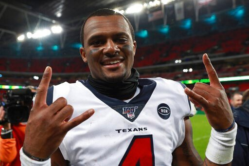 (AP Photo/Ian Walton). Houston Texans quarterback Deshaun Watson (4) celebrates after an NFL football game against the Jacksonville Jaguars at Wembley Stadium, Sunday, Nov. 3, 2019, in London. The Houston Texans won 26-3.