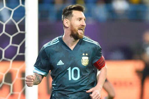 (AP Photo). Argentina's Lionel Messi celebrates after scoring his side's opening goal during a friendly soccer match between Brazil and Argentina at King Fahd stadium in Riyadh, Saudi Arabia, Friday, Nov. 15, 2019.