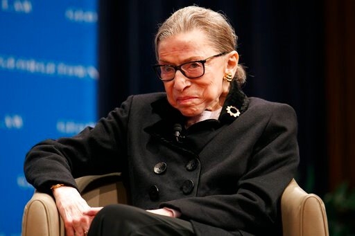 (AP Photo/Jacquelyn Martin). Supreme Court Justice Ruth Bader Ginsberg attends a panel with former President Bill Clinton and former Secretary of State Hillary Clinton, Wednesday, Oct. 30, 2019, at Georgetown Law's second annual Ruth Bader Ginsburg Lec...