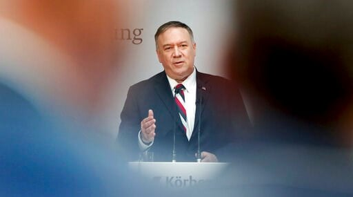 (AP Photo/Michael Sohn). United States Secretary of State Mike Pompeo delivers a speech during the 'Koerber Global Leaders Dialogue' in Berlin, Germany, Friday, Nov. 8, 2019.