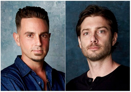 """(Photo by Taylor Jewell/Invision/AP). In this combination photo, Wade Robson, left, and James Safechuck pose for a portrait to promote the film """"Leaving Neverland"""" during the Sundance Film Festival in Park City, Utah on  Jan. 24, 2019. A California app..."""