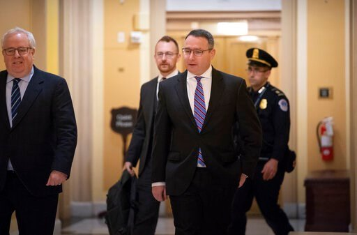 (AP Photo/J. Scott Applewhite). Former National Security Council Director for European Affairs Lt. Col. Alexander Vindman returns to the Capitol to review transcripts of his testimony in the impeachment inquiry of President Donald Trump, in Washington,...