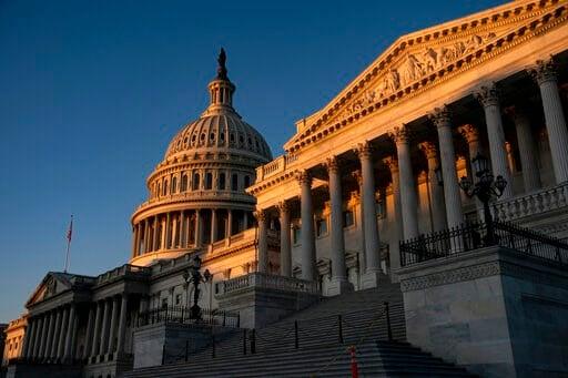 (AP Photo/J. Scott Applewhite). The Capitol is illuminated at sunrise in Washington, Wednesday, Nov. 6, 2019.