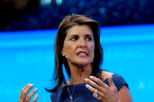 (AP Photo/Jose Luis Magana, File). FILE - In this March 25, 2019, file photo, former Ambassador to the U.N. Nikki Haley, speaks at the 2019 American Israel Public Affairs Committee (AIPAC) policy conference in Washington. With the launch of her new mem...