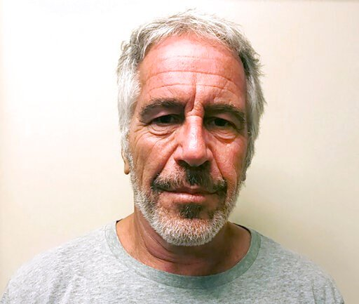 (New York State Sex Offender Registry via AP, File). FILE - This March 28, 2017, file photo, provided by the New York State Sex Offender Registry, shows Jeffrey Epstein. Two correctional officers responsible for guarding Jeffrey Epstein the night befor...